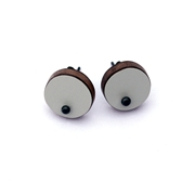 grey single dot earrings
