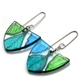 Teal lime and Turquoise White beam leaf earrings