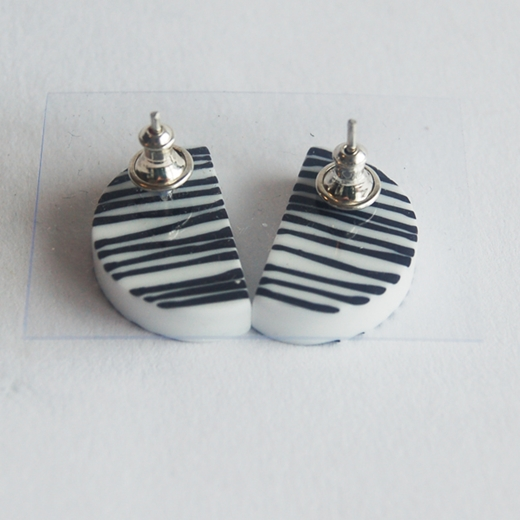 black line earrings back