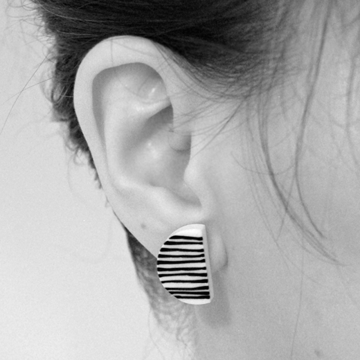 line up earrings worn