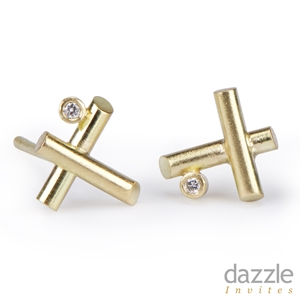 Mini Criss Cross Studs Gold