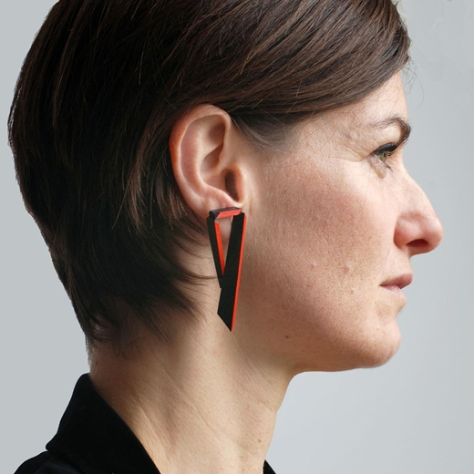 Long Angled Earrings - Black & Red - modelled