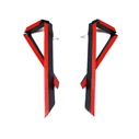 Long Angled Earrings - Black & Red