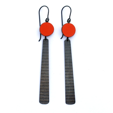 Red circle and long stripe earrings