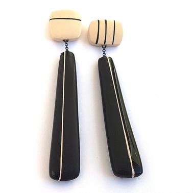 Long drop black resin stripy resin earrings