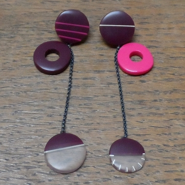 long maroon mismatch earrings