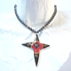 Necklace with Long Star Drop, Black,Red