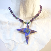 Long Star Necklace Purple, Blue