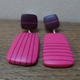 cerise rectangle clip on earrings