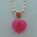 Necklace Pearl , Pink Heart