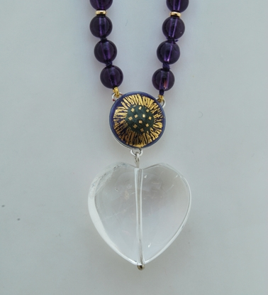 Heart Necklace Amethyst with Rock Crystal