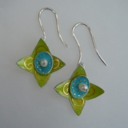 Earrings, Star Hoop ,Light green,turquiose with fine gold scrolls and dots