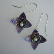 Earrings Star Hoop Purple/grey with fine gold scolls and dots, freshwater pearl drop