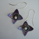 Earrings, Star Hoop Drop,Purple/grey
