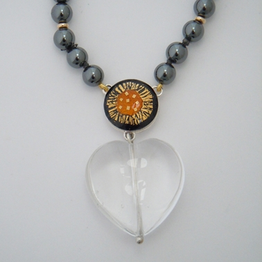 Hematite Necklace with Rock Crystal drop
