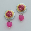 Round Heart Drop Earrings White/Pink
