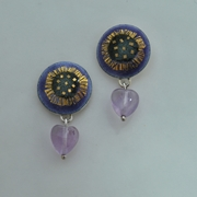 Round Heart Drop Earrings Amethyst