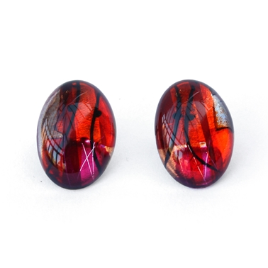 Red Large Oval Earrings