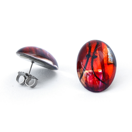 Red large Oval earring