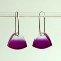 magenta feathered earrings