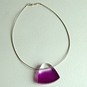 magenta feathered pendant