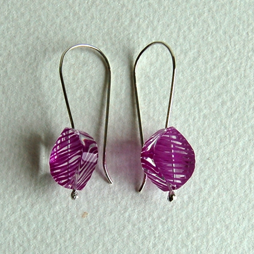 magenta petal earrings