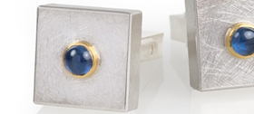 Silver and 24ct Gold Cufflinks with Blue Sapphires Cabochon by Josef Koppmann
