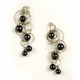 Metallic Black Quintuple Bubble Earrings 2