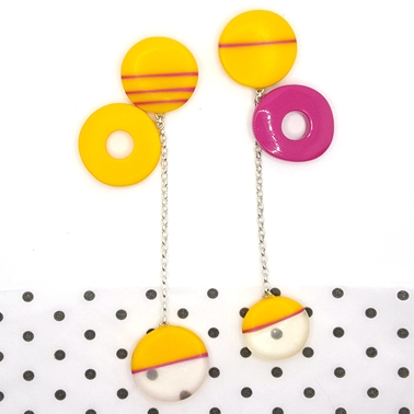 statement mismatch pink and yellow dangle earrings