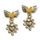 Winged heart with nobbly heart drop earring