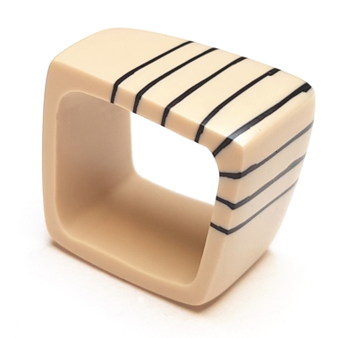 Square  resin ring - nude with black stripes