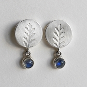 Round fern earring moonstone drop
