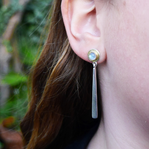 Rainbow moonstone forged drop earring