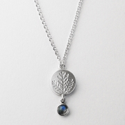 Round fern pendant moonstone drop