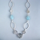 coin link necklace with aquamarine beads