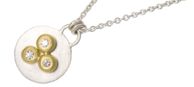 Natalie Jane Harris - Silver and 18ct disc necklace