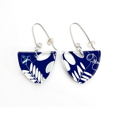Navy Vetch triangle earrings