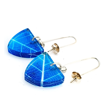 Nebulas Blue Skeleton Leaf Small Triangle Earrings