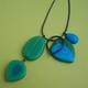 olive and turquoise charm pendant