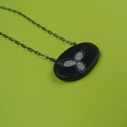 black and grey little oval necklace