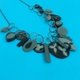 Black and grey muliti charm necklace