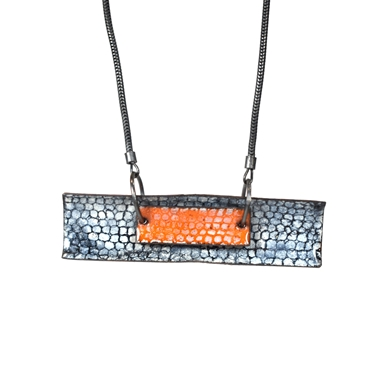 Two Piece Curved Rectangle Necklace - Blue and Tangerine