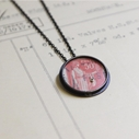red stamp dot pendant