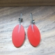 red oval drop earrings