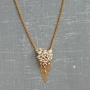 Pearl and Gold Tassel Pendant Necklace