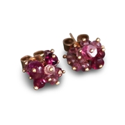Rose and pink tourmaline stud