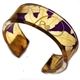 Purple & Gold passionflower narrow cuff