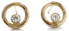 18k gold and diamond earrings by Sue Lane