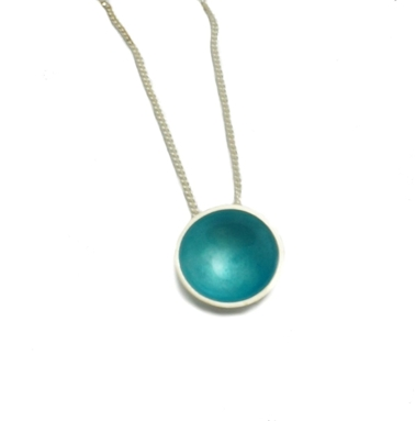 Medium Enamel Pendant - Teal