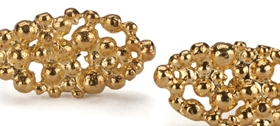 Oval Lace Studs - gold by Hannah Bedford